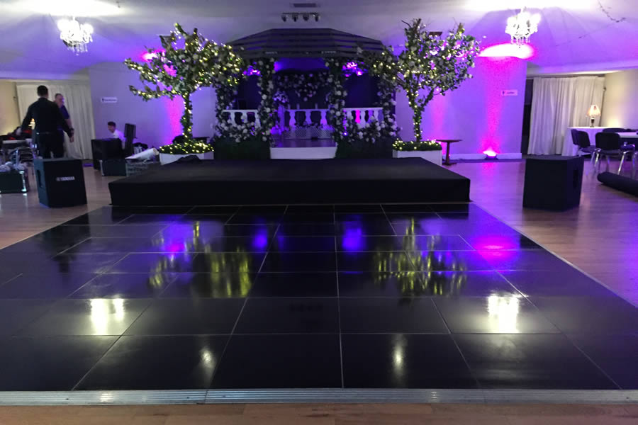 Plain black dance floor