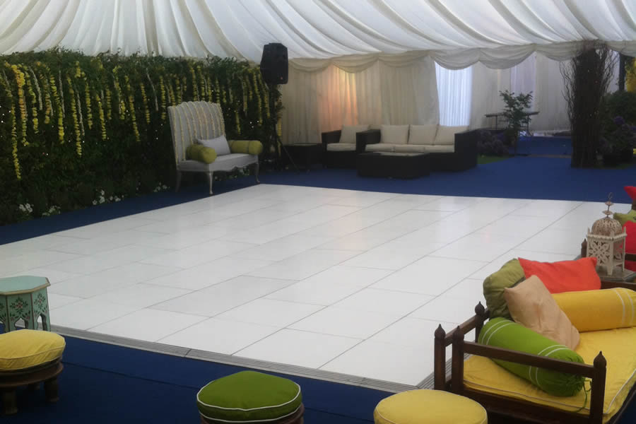 Plain white dance floor